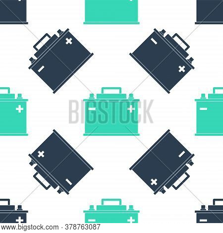 Green Car Battery Icon Isolated Seamless Pattern On White Background. Accumulator Battery Energy Pow