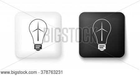 Black And White Light Bulb With Wind Turbine As Idea Of Eco Friendly Source Of Energy Icon Isolated