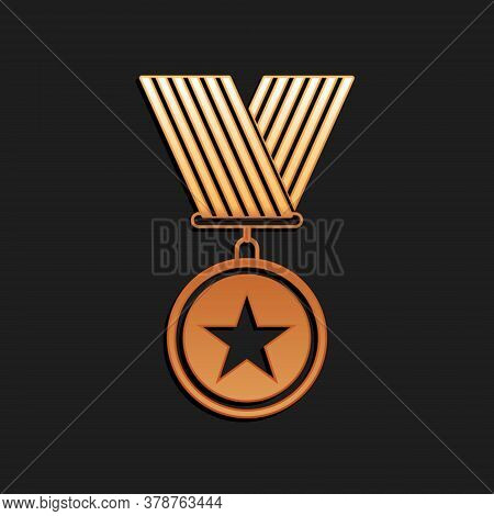 Gold Medal With Star Icon Isolated On Black Background. Winner Achievement Sign. Award Medal. Long S