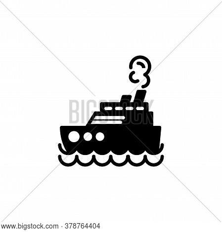 Steamship, Steamboat, Cruise Sea Ship Icon. Simple Sign, Logo.