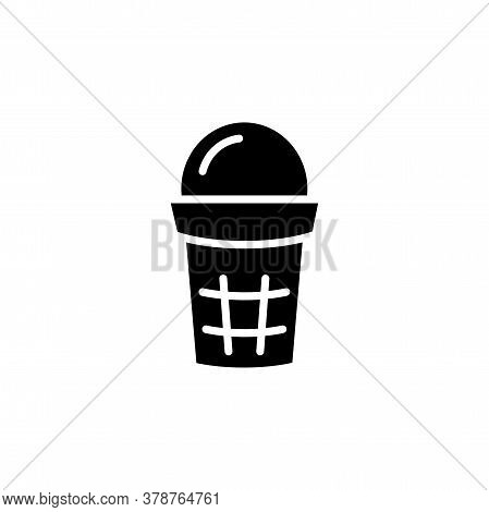 Ice Cream In Waffle Cup Icon. Simple Sign, Logo
