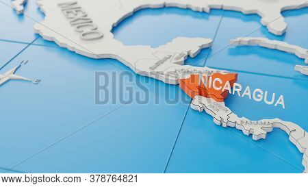 Nicaragua Highlighted On A White Simplified 3d World Map. Digital 3d Render.