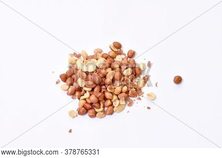 Baked Salty Red Peel Peanut Arranging On White Background