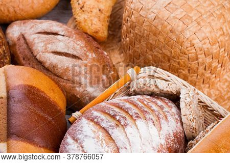 Freshly Baked Homemade Bread. Delicious Crusty Bread Background.