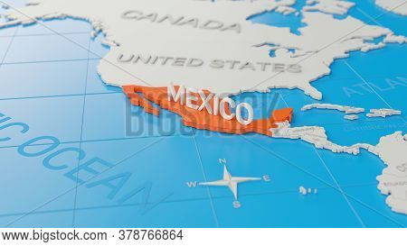 Mexico Highlighted On A White Simplified 3d World Map. Digital 3d Render.