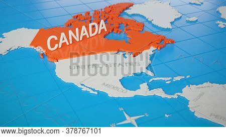 Canada Highlighted On A White Simplified 3d World Map. Digital 3d Render.