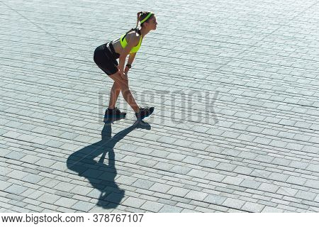 Female Runner, Athlete Training Outdoors In Summers Sunny Day. Professional Runner, Jogger Working O