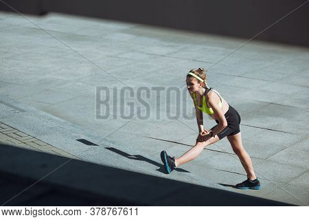 Motivation. Female Runner, Athlete Training Outdoors. Professional Runner, Jogger Working Out On The