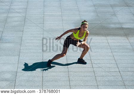 Achievement. Female Runner, Athlete Training Outdoors. Professional Runner, Jogger Working Out On Th