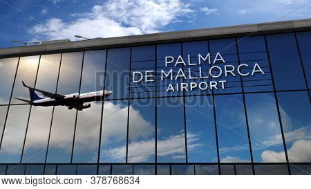Jet Aircraft Landing At Palma De Mallorca, Balearic Spain 3d Rendering Illustration. Arrival In The
