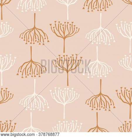 Seamless Background Woodland Tree Gender Neutral Baby Pattern. Simple Whimsical Minimal Earthy 2 Ton