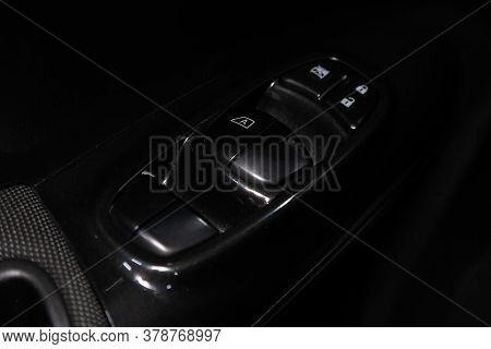 Novosibirsk/ Russia - April 28  2020: Nissan Juke,  Interior Of Modern Car. Side Door Buttons: Windo