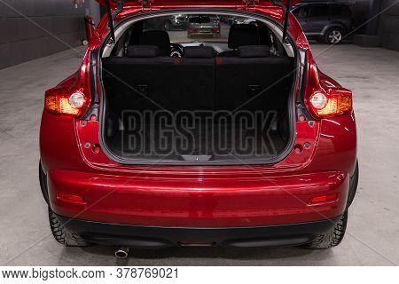 Novosibirsk/ Russia - April 28  2020: Nissan Juke,  Close-up Of The Open Trunk, Headlight, Bumper,