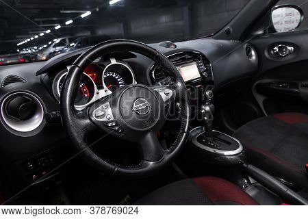 Novosibirsk/ Russia - April 28  2020: Nissan Juke,  Prestige Car Interior With Dashboard, Steering W