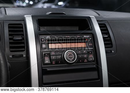 Novosibirsk/ Russia - April 28  2020: Nissan X-trail,  Audio Stereo System, Control Panel And Cd In
