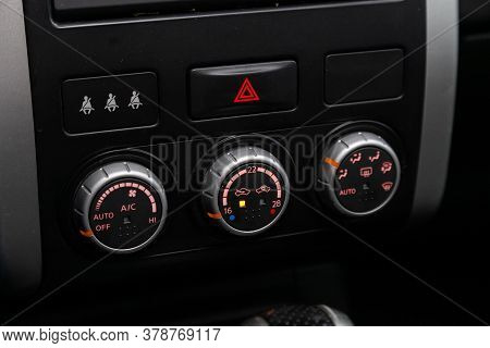 Novosibirsk/ Russia - April 28  2020: Nissan X-trail,  Close Up Of  Car Panel With The Air Condition