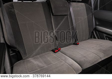 Novosibirsk/ Russia - April 28  2020: Nissan X-trail,  Rear Seat For Passengers In Black Textile. Co