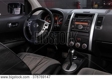 Novosibirsk/ Russia - April 28  2020: Nissan X-trail,  Prestige Car Interior With Dashboard, Steerin
