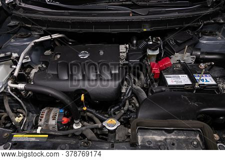 Novosibirsk/ Russia - April 28  2020: Nissan X-trail,  Close Up Of A Clean Motor Block. Internal Com