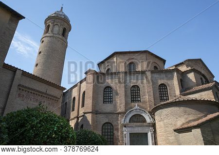 Ravenna, Italy.  July 28, 2020. An External View Of The Basilica Of St. Vitale