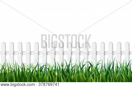 White Fence And Fresh Green Grass Seamless Background. Endless Wooden Fence And Green Lawn Isolated