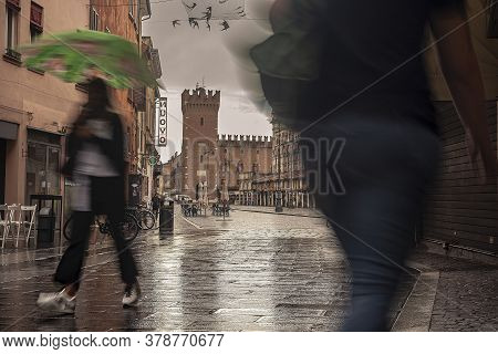 Ferrara, Italy 29 July 2020 : Evocative View Of The Street That Leads To Piazza Trento Trieste In Fe