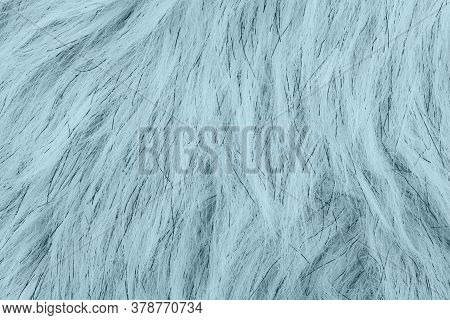 Teal Fake Fur Textured Material Background With Copy Space For Message Or Use As A Texture