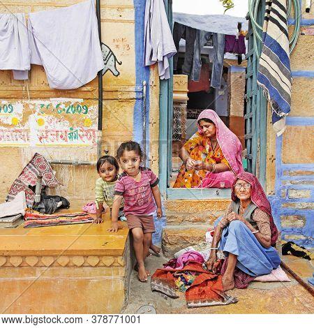 Three generations. Indian traditional family. shoot was made in Jaisalmer' street Feb.2013. Rajastan, India