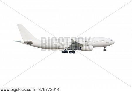 Commercial Airplane With Landing Gear On White Background