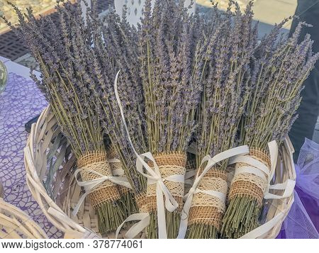 Bunch With Lavender Bouquets With Texture Bowls In Basket Close-up. Beauty Products. Copy Space