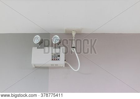 Emergency Lights With Two Lamps.emergency Light Auto Lighting Working When Power Outage By Battery.