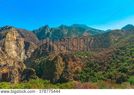 Kings River Canyon Scenic Panorama With Sequoia Trees From Highway 180 In Kings Canyon National Park