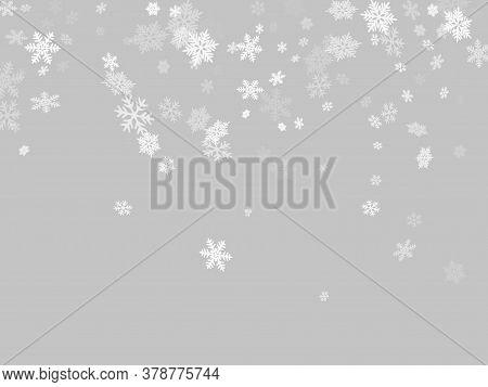 Winter Snowflakes Border Magic Vector Background.  Macro Snowflakes Flying Border Illustration, Card