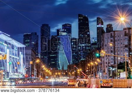 Large Panoramic View Of Moscow City Buildings, Modern Business Center On The Banks Of The Moscow Riv