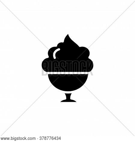 Ice Cream In Cup Icon. Dessert Or Sweetness In Glass. Simple Sign, Logo