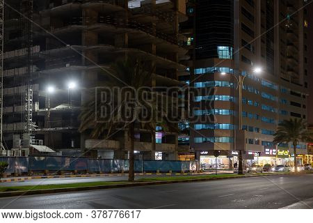 Ajman, Uae - April 5. 2018. Street Sheikh Humaida Bin Rashid Al-nuaimi At Night