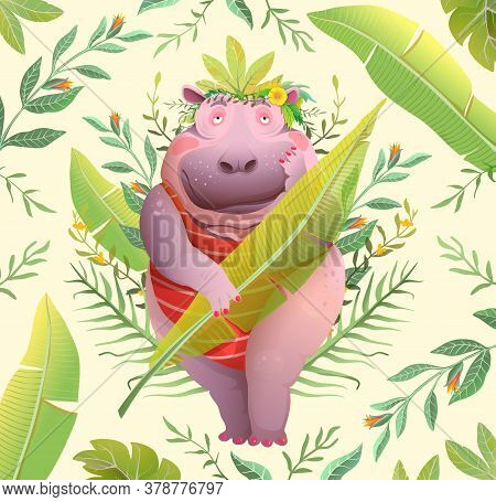 Boho Style Hippopotamus Lady In Jungle Holding Palm Leaf, Cute Funny Body Positive Character Design.