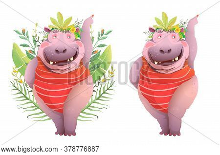 Fun Hilarious Happy Smiling Hippopotamus Cartoon. Funny Laughing Lady Hippo Character With Teeth Pos