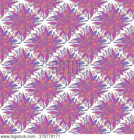 Abstract Doodle Vivid Flowers Seamless Pattern, Pastel Neon Color, Isolated White Background