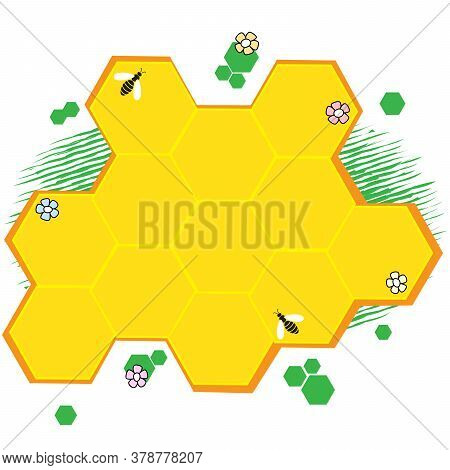 Retro Empty Speech Bubble Stylized As Honeycomb. Advertising Of Shop Selling Honey, Bee Products. Ba