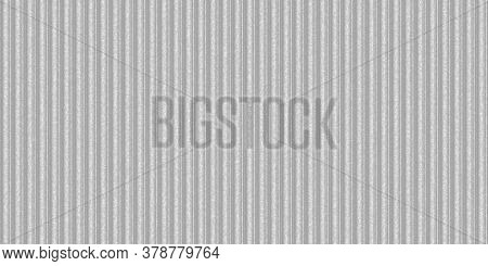 Silver White Ribbed Metallic Surface. Wavy Iron Wall Pattern. Fluted Metal Fencing Backdrop. Corruga
