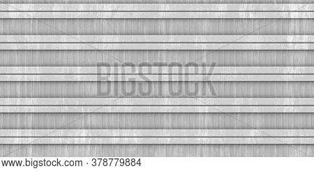 Gray Stripe Fluted Metal Fencing Backdrop. Corrugated Metal Texture. Crimp Fence Background. Ribbed