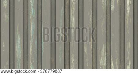 Dirty Stripe Wavy Iron Wall Pattern. Fluted Metal Fencing Backdrop. Corrugated Metal Texture. Crimp