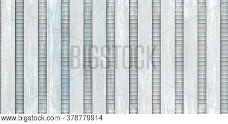 Painted Crimp Fence Background. Ribbed Metallic Surface. Wavy Iron Wall Pattern. Fluted Metal Fencin
