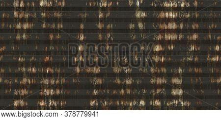 Hard Rust White Corrugated Metal Texture. Crimp Fence Background. Ribbed Metallic Surface. Wavy Iron