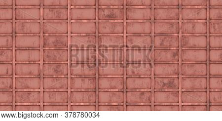 Red Crimp Fence Wall Background. Ribbed Metallic Surface. Wavy Iron Wall Pattern. Fluted Metal Fenci