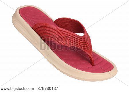 Red Slipper Isolated On White Background, Comfortable Slipper