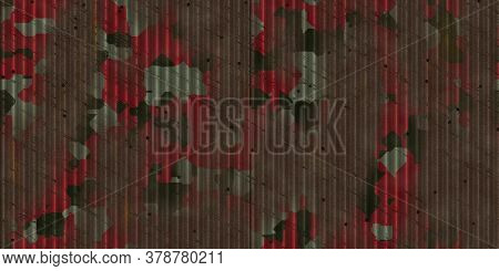 Red Rusted Camouflage Fluted Metal Fencing Backdrop. Corrugated Metal Texture. Crimp Fence Backgroun