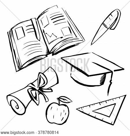 Black Sketches On White Background. School Supplies Set. Textbook Pen Scroll Apple Ruler.