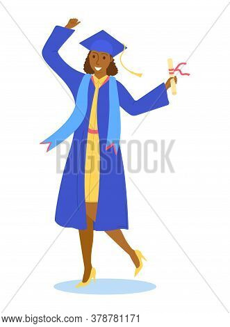 Graduation Girl Character, School Graduation Student Hold Diploma In Hat Isolated On White, Flat Vec